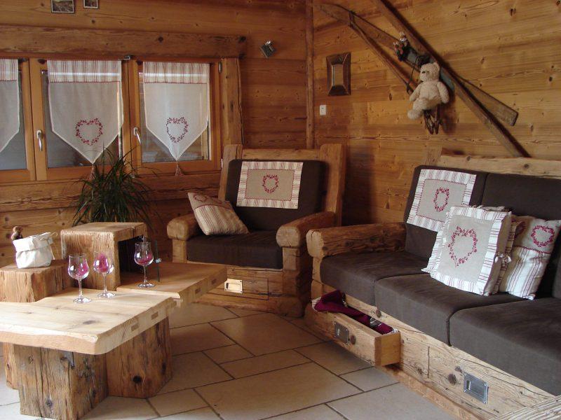 Banquette et fauteuil Vieux bois
