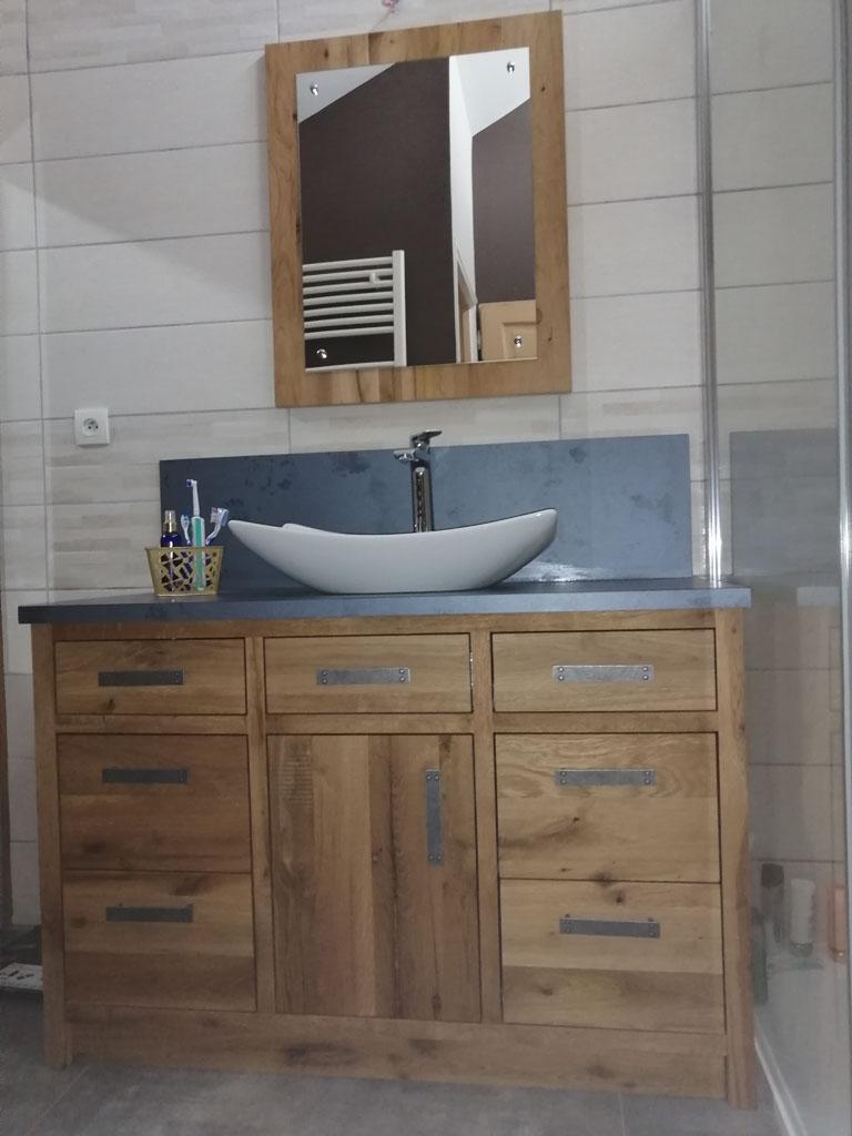 Salle de bain en Vieux Chêne