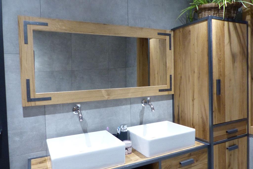 miroir salle de bain vieux chene